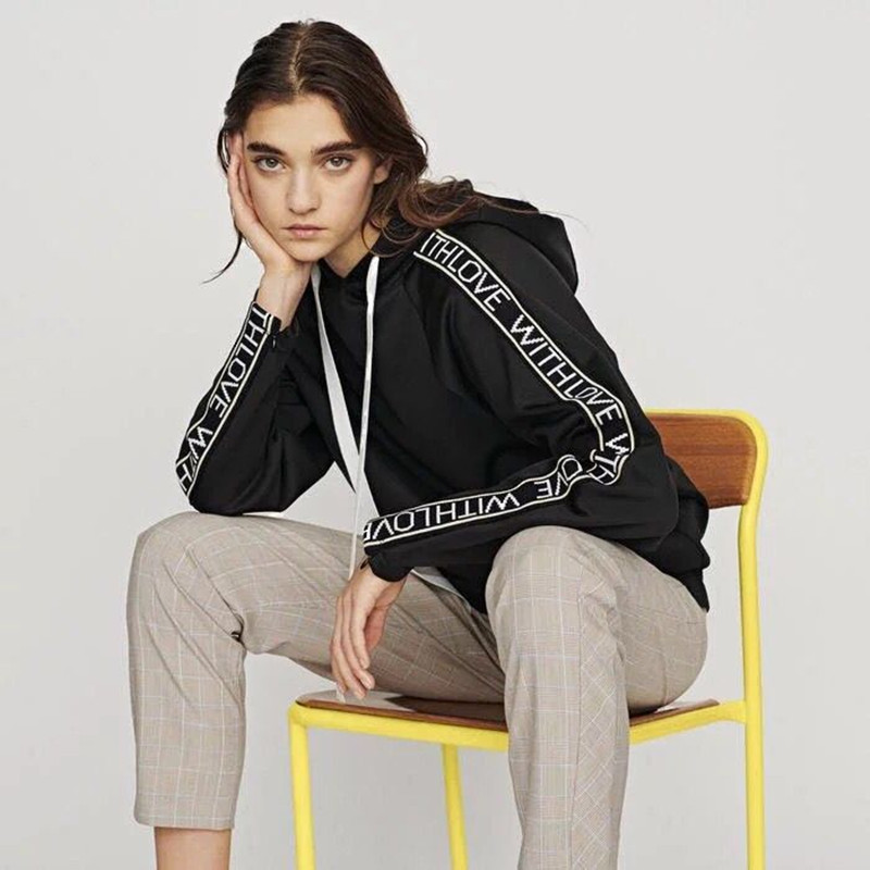 2019 New Spring Autumn Women Letter Print Hooded Hoodie