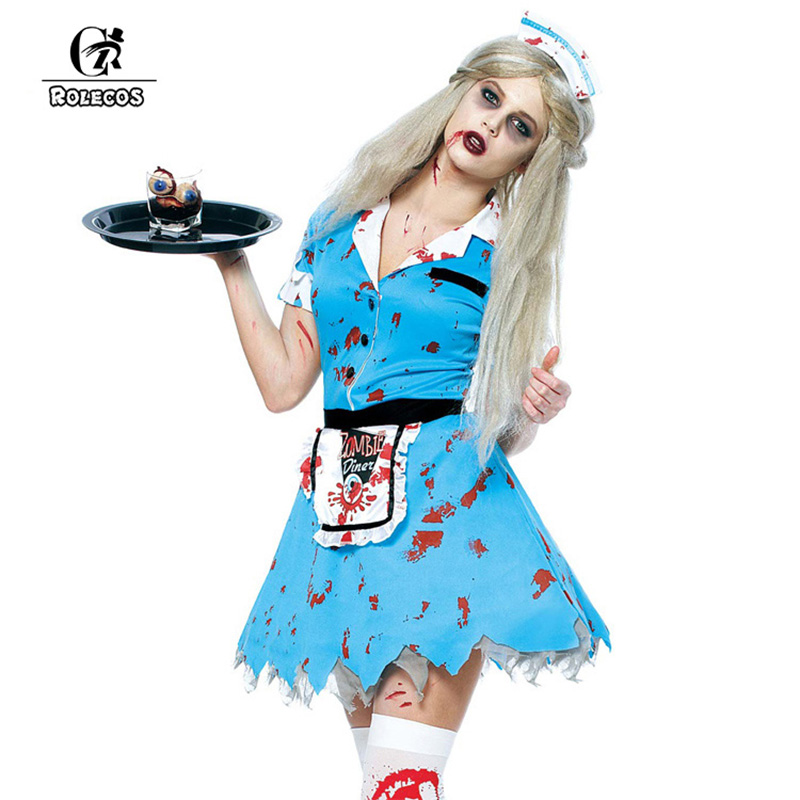 2017 women halloween costumes rolecos brand bloody waitress costumes high quality female zombie halloween costume for - Halloween Costumes Prices