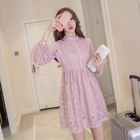 New Autumn Women dress Loose Lace Full Sleeve Hollow Out Type A 17 Render Trend Dresses White Pink Black Apricot 3302