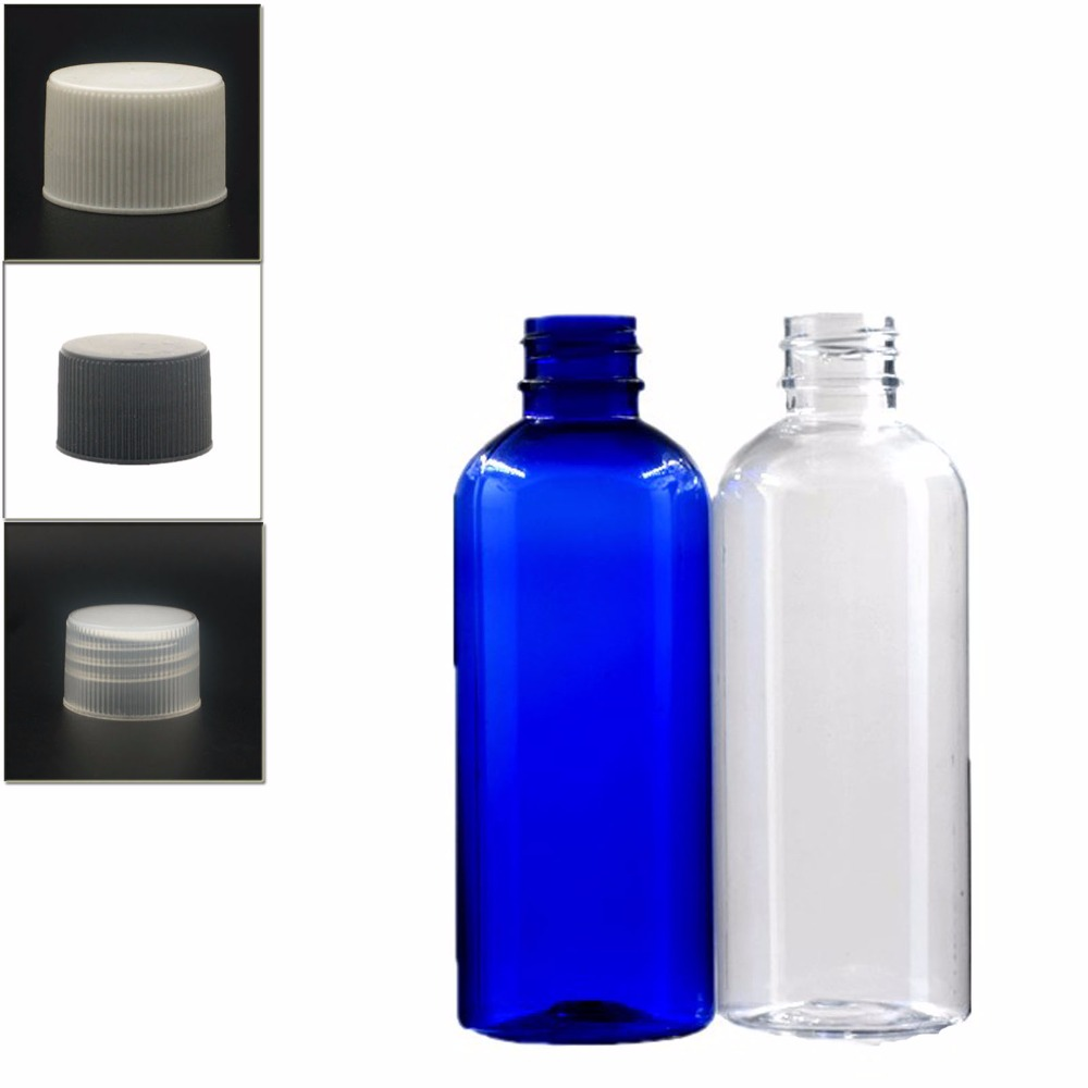 100ml Empty Plastic Bottles, Blue/clear PET Bottle With Black/white/transparent Ribbed Screw Lid X 5