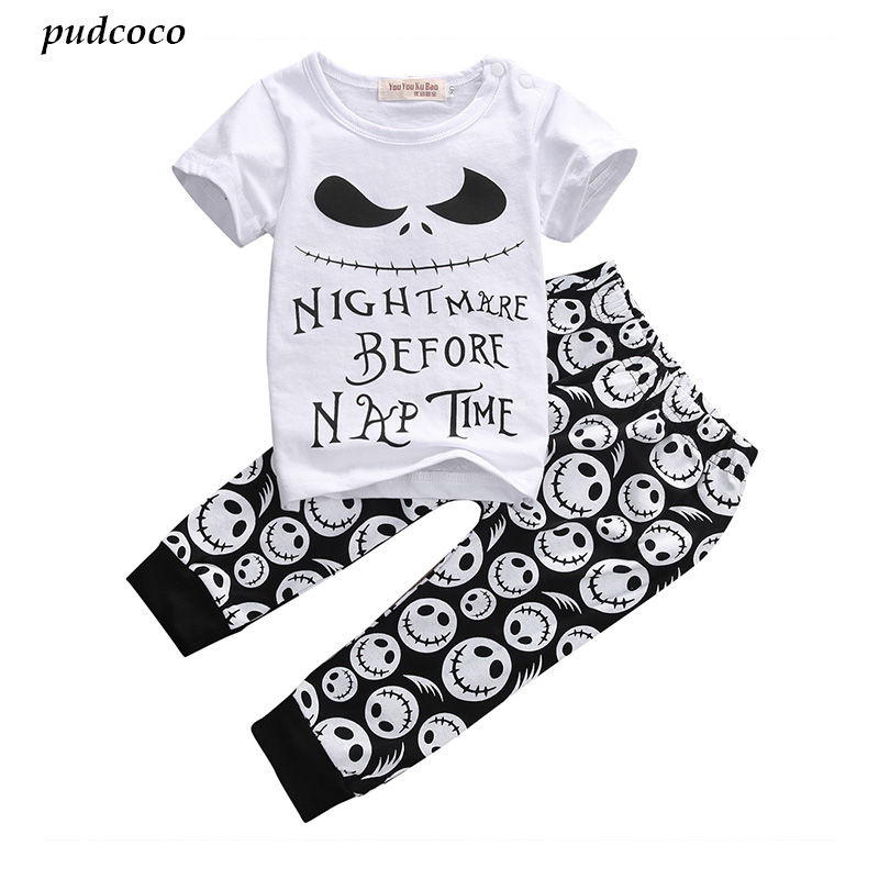 2PCS/New Cartoon Cotton Halloween Letter Clothing Set Baby Boy Children Kids T-shirt+Pants Toddler boy summer Outfits Clothes 2017 new baby boys clothing set 2pcs kids clothes cartoon cat cute boy suit fashion new boy s summer t shirt pants toddler suits