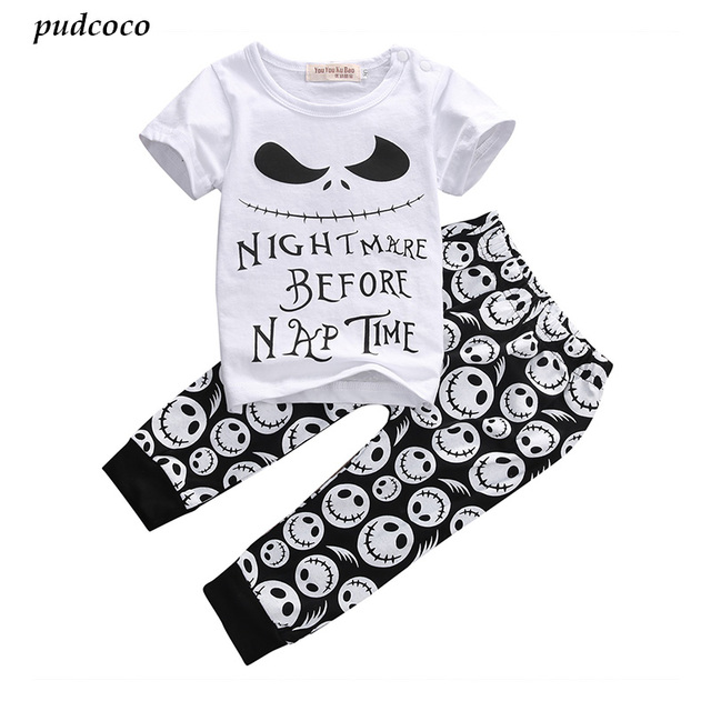 e1cf565a2aeb 2PCS New Cartoon Cotton Halloween Letter Clothing Set Baby Boy ...