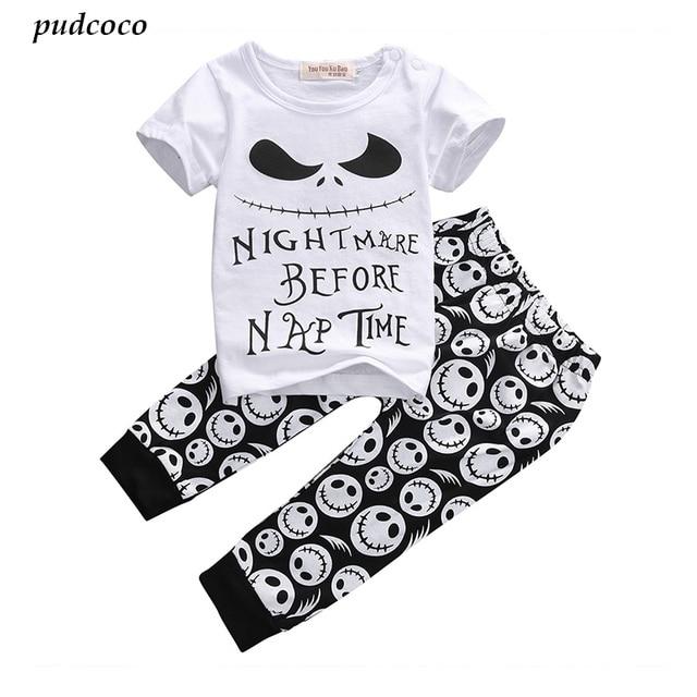 e1cf565a2aeb 2PCS New Cartoon Cotton Halloween Letter Clothing Set Baby Boy ...