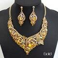 Fashion Multicolour Alloy Rhinestone Necklace Earring Set,Rhinestone Wedding Jewelry Set Free Shipping