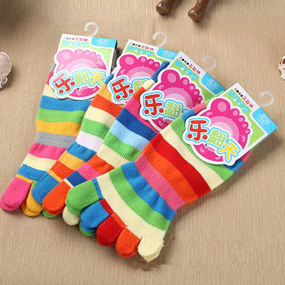 New Random Color!! Spring Rainbow Colorful Stripes Childrens Warm Cotton Five Fingers Toe Socks For 4-8 Years Old Girls & Boys