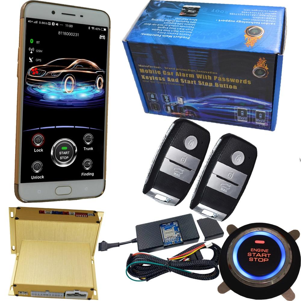 Capteur de choc gsm et gps alarme de voiture avec bouton d'arrêt de démarrage du moteur 2g/3g/4g carte sim prenant en charge le contrôle du double mode sms et données