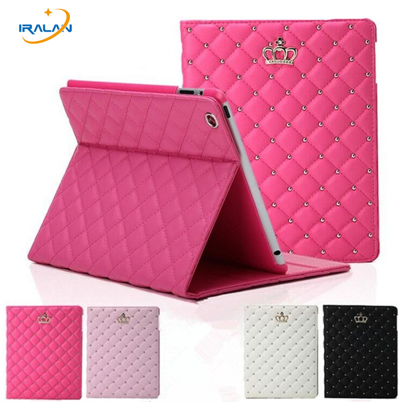 For apple iPad Air/ipad 5 Luxury Crown Grid PU Leather Cover For ipad 6/ipad Air 2 Stand Protective Tablet Case+stylus pen+film