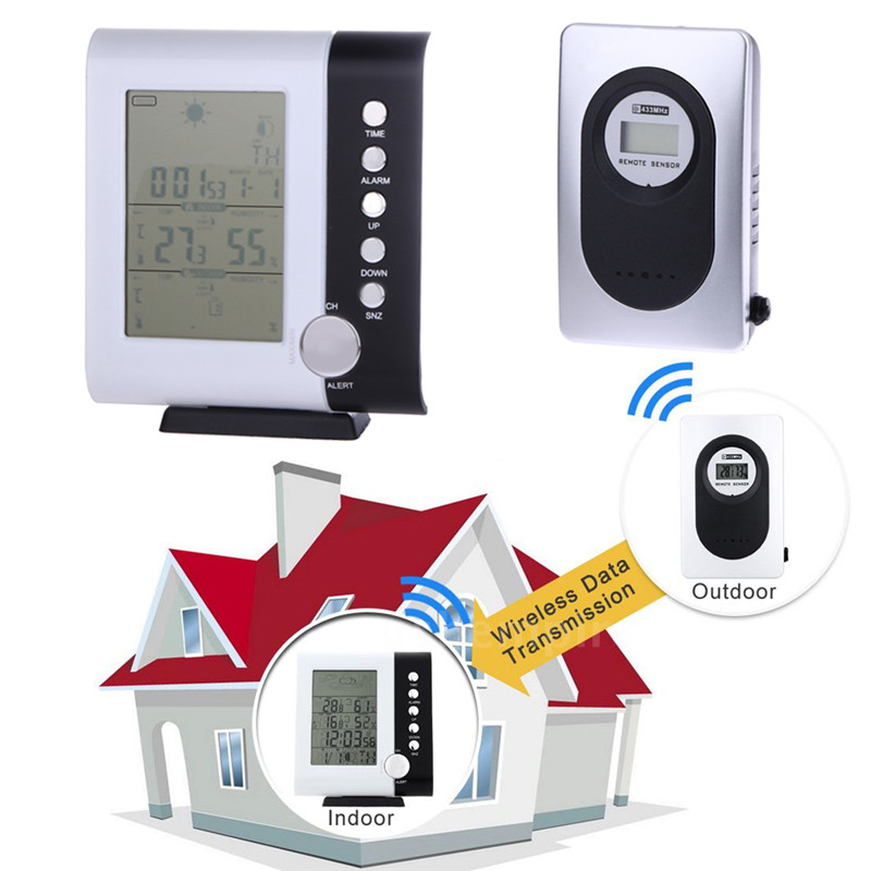 433MHz Weather Station Alarm Clock Wireless Digital Thermometer Hygrometer Indoor Outdoor Tester Clock
