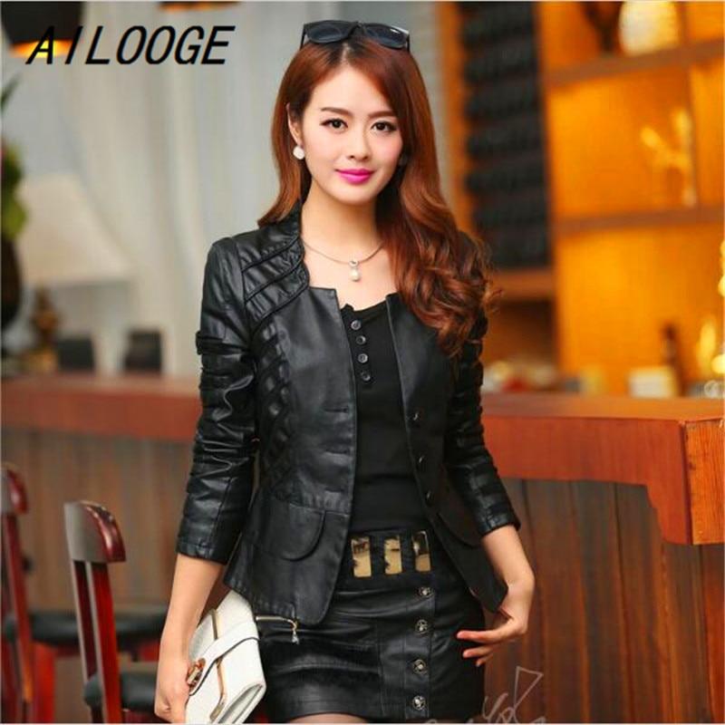 AILOOGE Autumn   Leather   Jacket Women Casual Long Sleeve Faux Short Coat Fashion Mosaic Plus Size PU Cheap Bomber Jacket Femininas