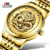 Erkekler saatler üst marka Tevise iş altın ejderha heykel mekanik İzle kadınlar çelik su geçirmez kol saati Relogio masculino