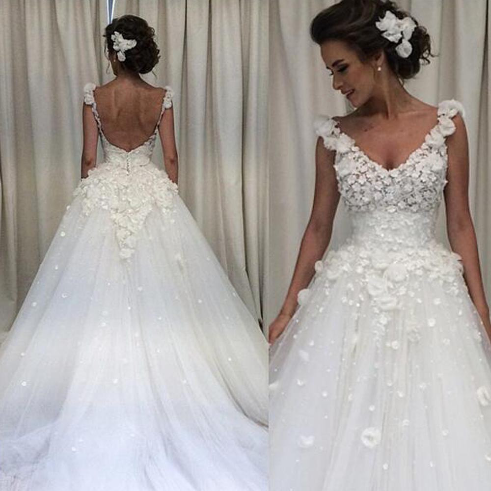 A Line Flowers Wedding Gowns Deep V Neck Hand Made Backless Tulle Court Train Dresses In From Weddings Events On