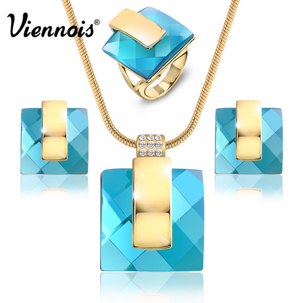 Viennois Gold Color Blue Stone Square Rhinestone Earrings Necklace Jewelry Set Wedding Party New Women Jewelry viennois new blue crystal fashion rhinestone pendant earrings ring bracelet and long necklace sets for women jewelry sets