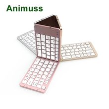Animuss Full aluminium case adopt folding design wireless bluetooth keyboard for IOS,Android,Windows russian removable wireless bluetooth keyboard case for 9 to 10 1 inch leather case for ios android windows keyboard
