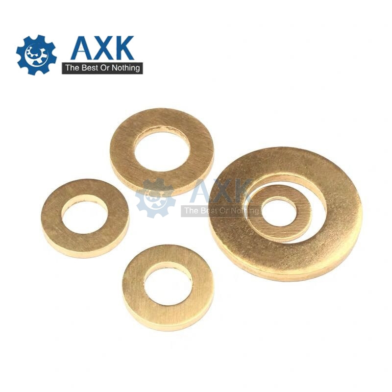 50pcs DIN125 ISO7089 M3 M4 M5 M6 <font><b>m8</b></font> m10 M12 M14 Meson Pad Copper Sheet Metal Collar Brass Disc Flat <font><b>Washer</b></font> Gasket Ring image