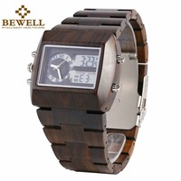 BEWELL Multifunctional Wooden Watches Men Dual Time Zone Digital Wristwatch LED Rectangle Dial Alarm Clock with Watch Box 021A