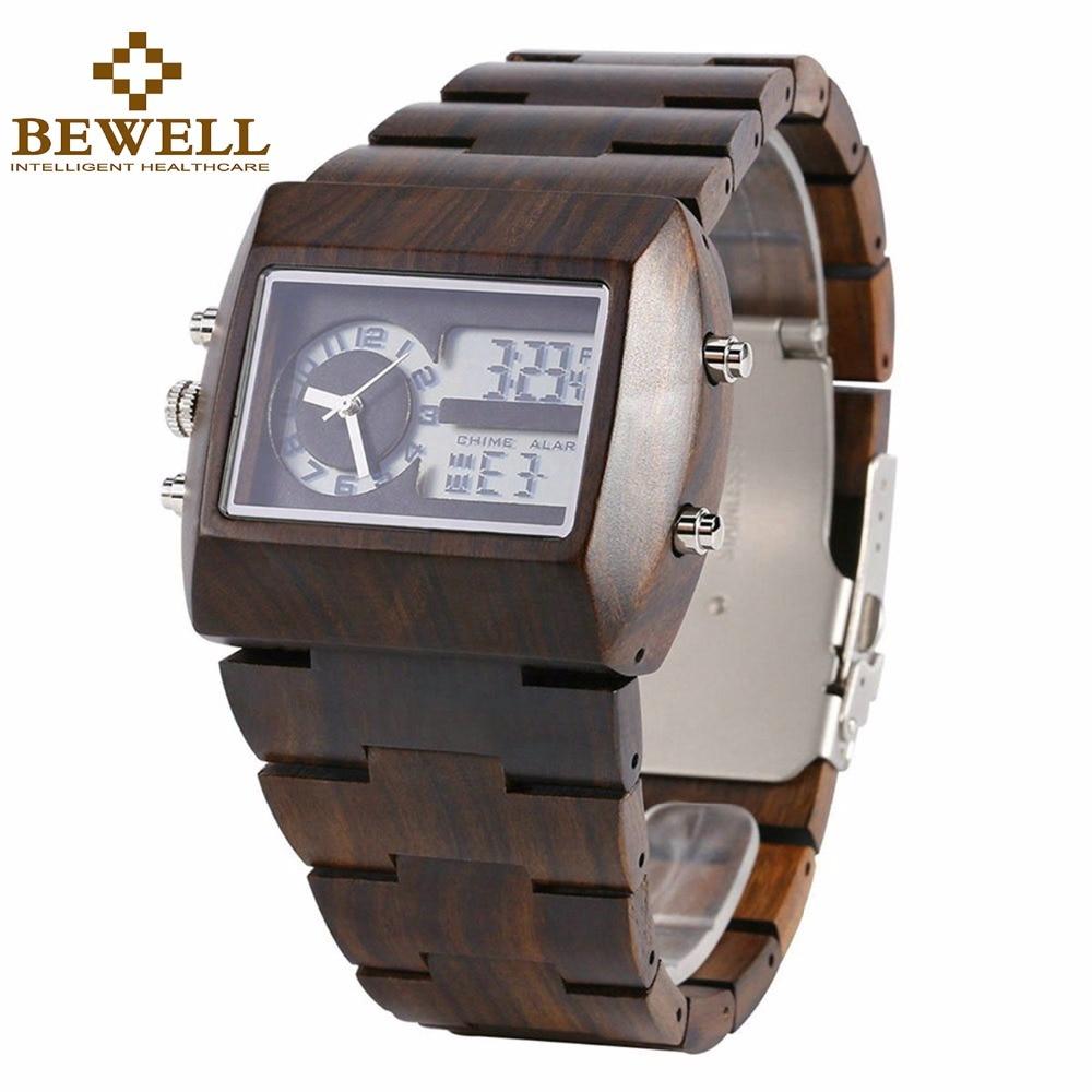 BEWELL multifonctionnel montres en bois hommes double fuseau horaire montre-bracelet numérique LED Rectangle cadran réveil avec boîte de montre 021A