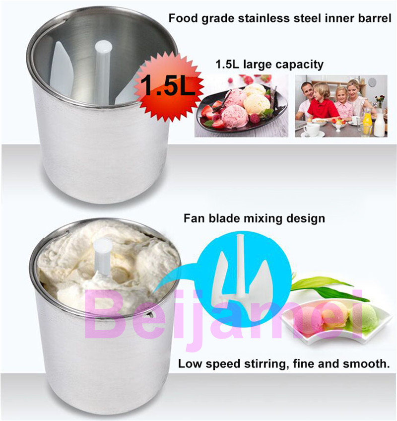 BEIJAMEI 1.5L Automatic Mini Ice Cream Machine for Household with Transparent Lid and Integrated Molding Ice Cream Barrel 12