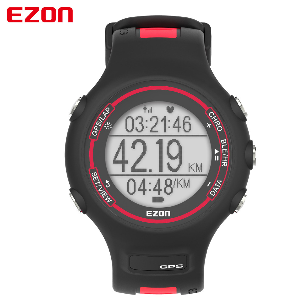 EZON T907 Digital Watch Outdoor Sports Running GPS Track Heart Rate Monitor Waterproof Smart Bluetooth Watches For Male ezon gps hrm heart rate monitor sports hiking training fitness watch calories pedometer bluetooth 4 0 smart sports watch t033