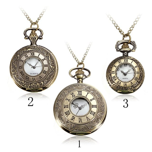 New Arrive Steampunk Vintage Hollow Roma Bronze Necklace Chain PocketWatch Penda