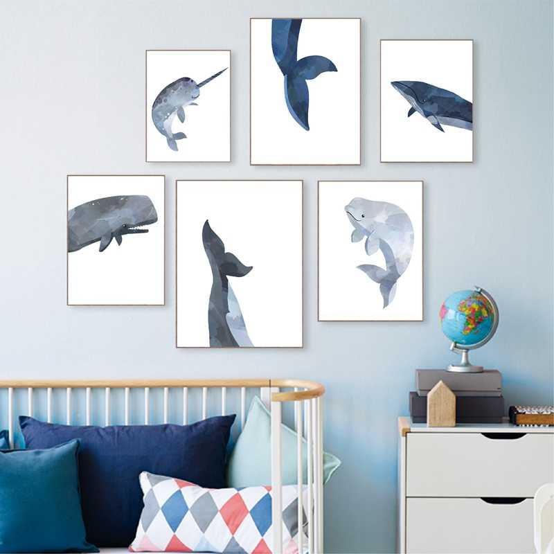 Whale Animal Canvas Poster Print Ocean Sea Nursery Theme Art Painting Narwhal Pictures Home Baby Room Wall Decor