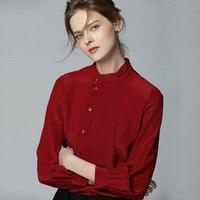 100% шелковая блузка Для женщин рубашка однотонное двубортное Дизайн воротник стойка одежда с длинным рукавом 2 цвета офисные Топ Новая мода