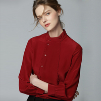 100% Silk Blouse Women Shirt Solid Double breasted Design Mandarin Collar Long Sleeves 2 Colors Office Top New Fashion 2018