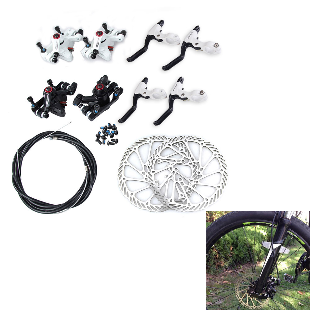 Black MTB Bicycle Disc <font><b>Brake</b></font> Set Kit Calipers Levers G3 Rotors 160mm Hose