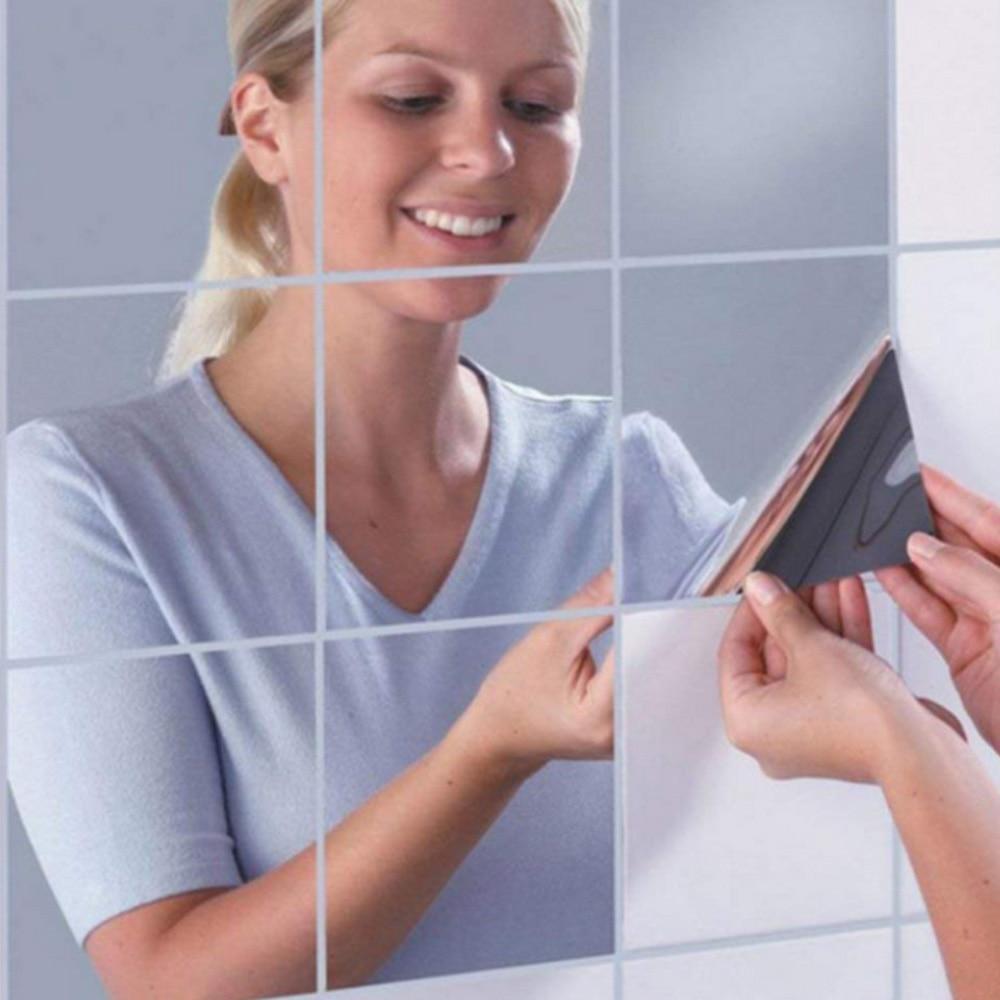 Mirror Wall Stickers Self Adhesive Tiles Mirror Sheets DIY Bathroom Stickers Wardrobe Mirrors Creative Home Decor 6 inch (1)
