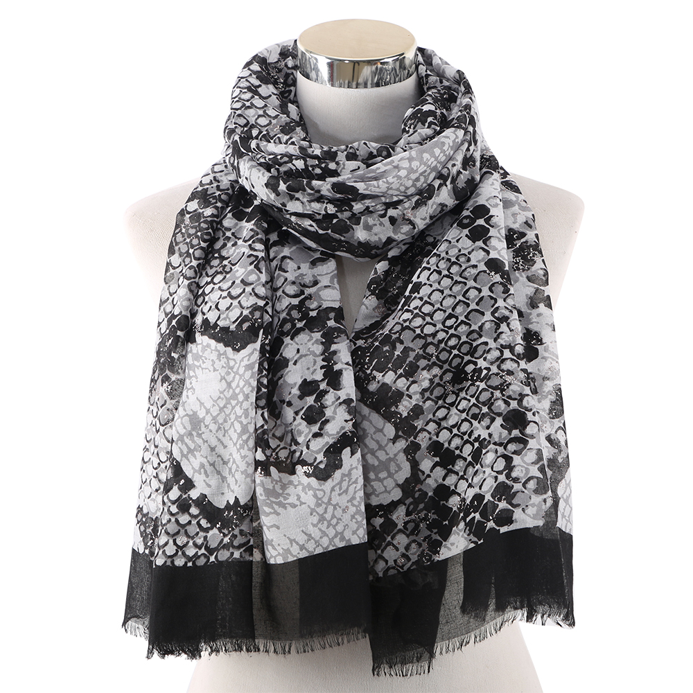 Winfox Fashion Black Pink Female Shawl and Wraps Women Snake Skin Print Scarfs For Ladies in Women 39 s Scarves from Apparel Accessories