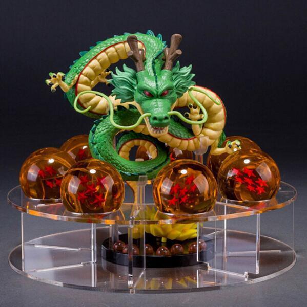 Figuras de Dragon Ball Z Shenron Figura de Ação Shenlong Dragon Ball Com Bolas de Set + 7 PCS Dragonballs Cristal + Acrílico prateleira