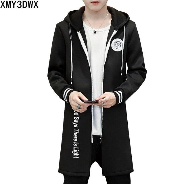 bed8ef14102 2017 New Autumn Hooded Trench Coat Men Zipper Long Slim Fit Korean Casual  Black white