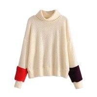 Manguito cor colisão suéter de lã pescoço de Tartaruga espetáculo solto fina outono e inverno 2017 novos produtos na Europa e nos camisola