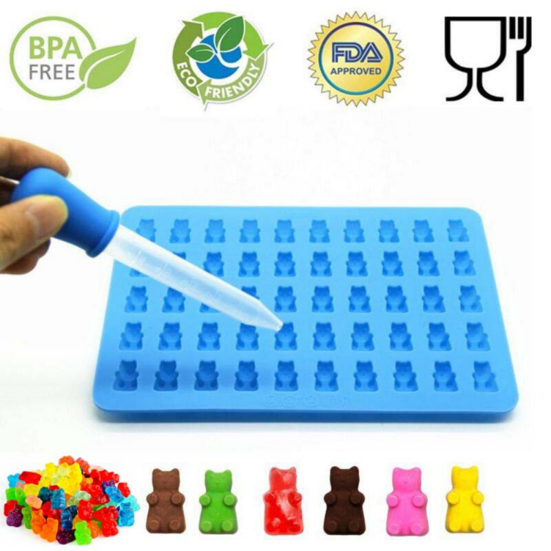 Forme de silicon Forme de silicon Gummy Bear Shape Ursul Mold Jelly Bear Tort Bomboane Tăvi cu Dropper Rubber Chocolate Maker 11%