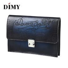DIMY Handmade Patina Vintage Calf Leather Envelope Clutch Bag Men Purse Tote Hasp Wallet Day Clutches For Male Handbag