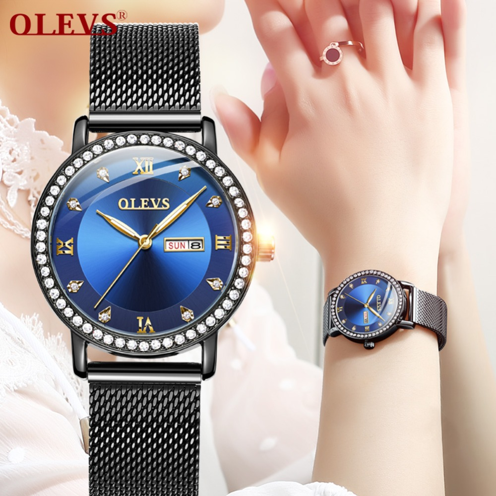 OLEVS Women Dress Watches Luxury Brand Ladies Quartz Watch Stainless Steel Mesh Band Casual Gold Bracelet Wristwatch reloj mujer 2017 julius brand ladies women dress watches thin quartz watch steel mesh band luxury gold bracelet wristwatch relogio feminino