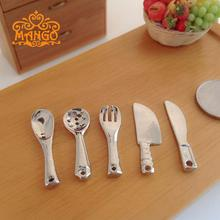 Mini Dollhouse Mini model of food cooking tools knife and fork spoon 5 sets of models