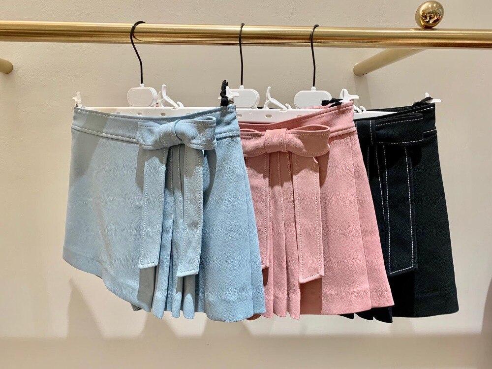 2019 printemps et été femmes taille basse couleur pure pantalon court avec ceinture arc 3 couleurs