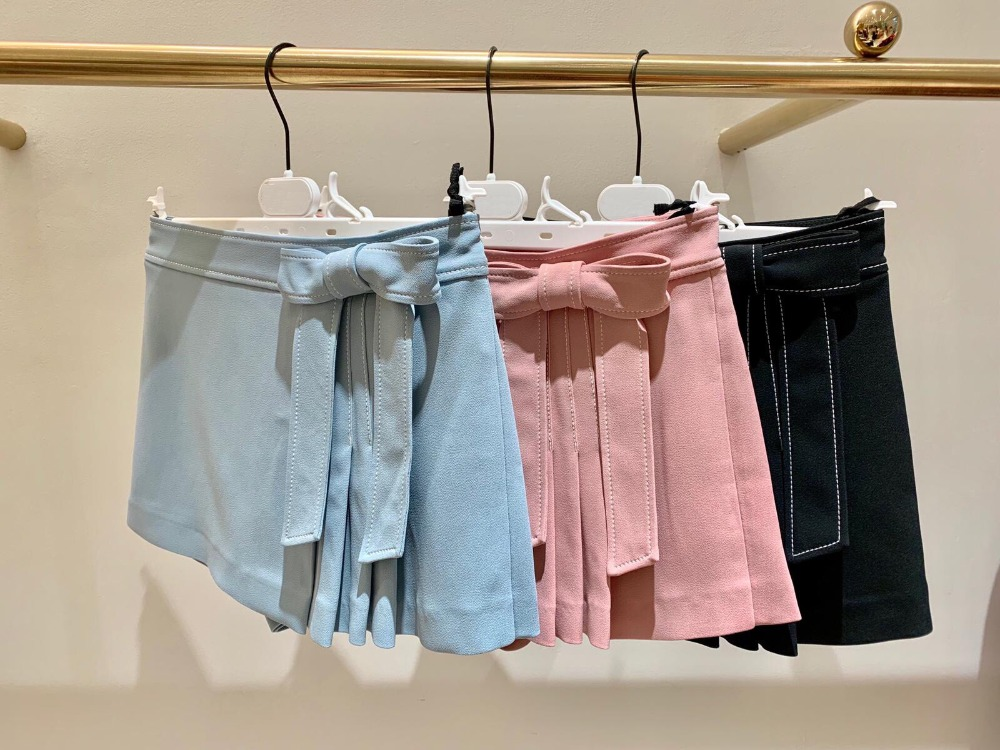 2019 Spring And Summer Women Low Waist Pure Color Short Pants With Bow Belt 3 Colors