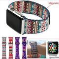 Fashion bohemian pulseira de couro laço para iwatch bandas strap fivela de aço inoxidável magnético para apple watch 38mm 42mm