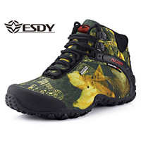 Men Safety Work Flat Shoes Winter Leaves Print Lace Up Waterproof Combat Army Boots Mens Tactical