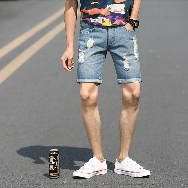 Fashion new mens jeans straight short Slim summer 98% cotton stretch shorts breathable denim mens jeans hole