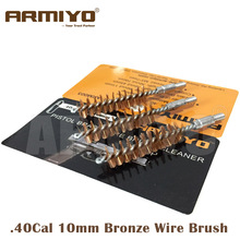 Armiyo .40Cal .41Cal 10mm Hunting Pistol Gun Bronze Wire Brush Cleaner Bore Barrel Cleaning Brush Screw Thread Size 8-32(China)