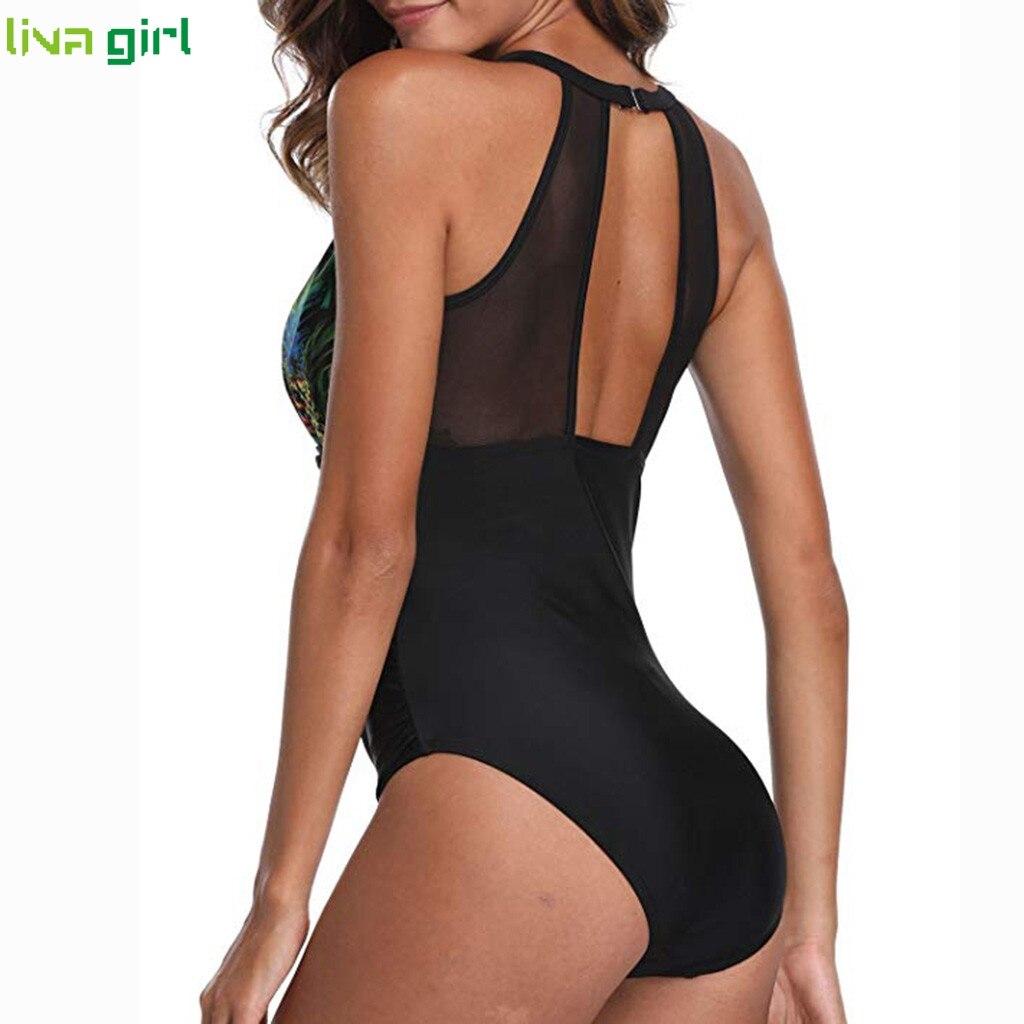 Liva girl Women Sexy Flower Print One-Piece Suits new Push-Up Beachwear Swimsuit 2019 hot Set Beach Monokini  Bathing Suit  3XL