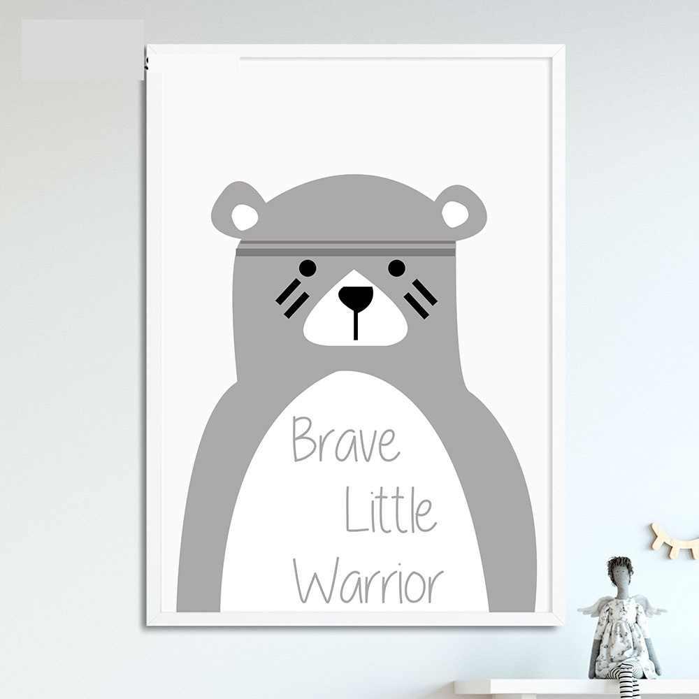 TRIBE Bear Wall Art โปสเตอร์ผ้าใบพิมพ์การ์ตูนสไตล์นอร์ดิกจิตรกรรมภาพผนังเด็กตกแต่งห้องนอน