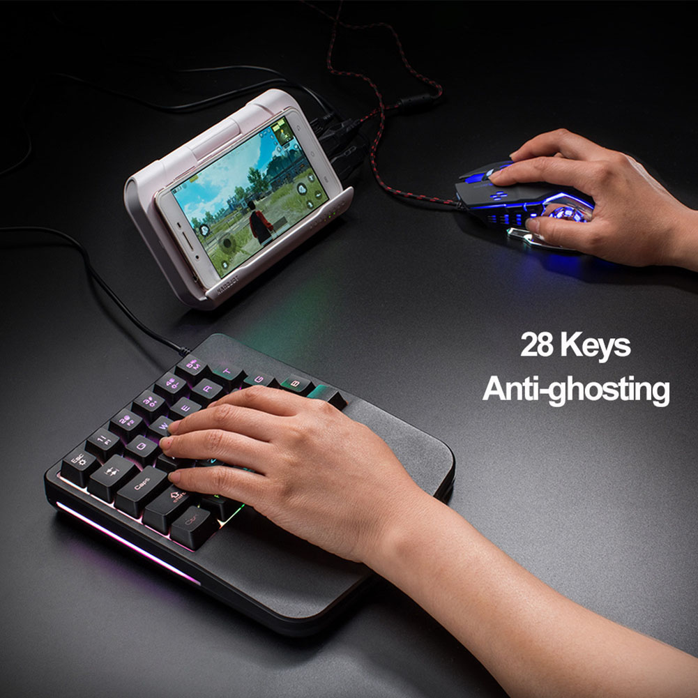 28 Keys Wired Mini Keyboard Rainbow Backlight One Hand USB Keypad for Dota OW PUBG Game QJY99