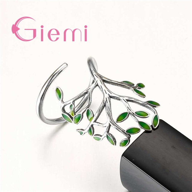 Top Quality Vintage 925 Sterling Silver Ring Women Men Enameled Green Leaves Tree of Life Trendy Party Wedding Jewelry 2