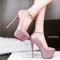 O envio gratuito de primavera das mulheres 14 cm saltos finos rasa boca-de salto alto sapatos de plataforma sexy strass dedo do pé redondo sapatos único