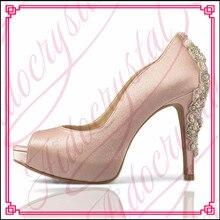 Aidocrystal Hot selling women shoes pumps sexy rhinestone open toe high heels ladies fashion brand nude wedding platform