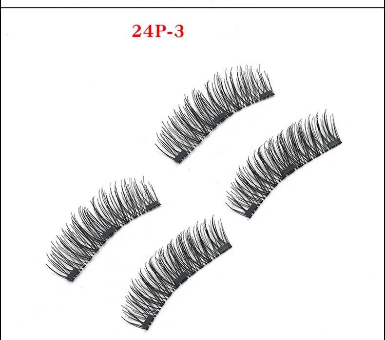 Natural Long 3 Magnetic False Eyelashes Makeup for Eyes Hand made high-grade Fiber Hair Fake Lashes 24P 52HB 120pairs/lot DHL