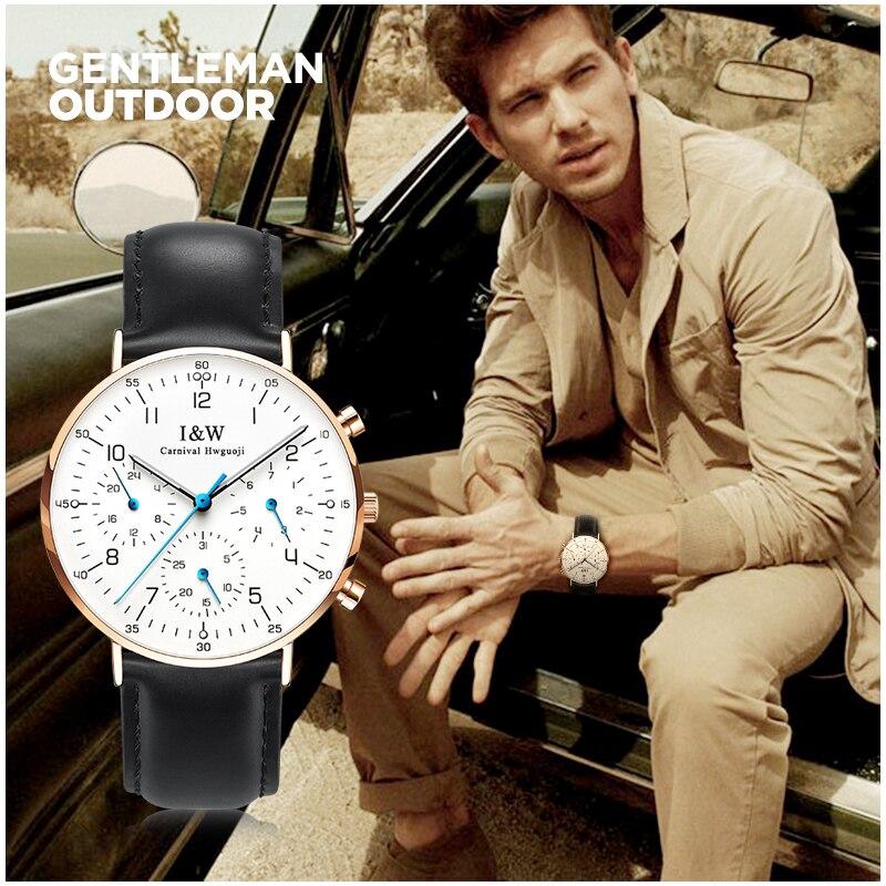 I&W Sport Watch Men Carnival Waterproof Mens Quartz Watche Ultra Thin Wristwatch Male Clock Leather Strap relogio masculino xfcs